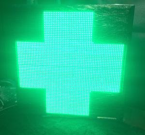 Аптечный крест LED P10 64х64 см односторонний зеленый уличный USB 220V iP65