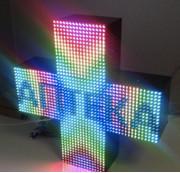 LED Аптечный крест P10 49х49 cм двухсторонний цветной уличный USB 220V iP65